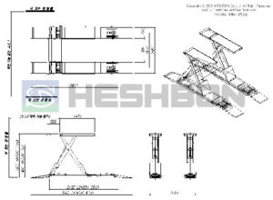 Heshbon HL51G Vehicle Lift - Wheel Algnment Scissors